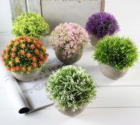 yapay yeşil bitki topları toptan satış-Yapay Çiçekler Saksı Bitki Çim Topu Plastik Sahte Çiçek Yeşil Renk Bitki Eğlence Doğum Günü Partisi Düğün Süslemeleri 13cjE1
