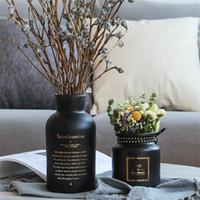 ingrosso bouquet di fiori neri-Black Glass Nordic Vasi di coltura idroponica della pianta del fiore per la decorazione domestica Bouquet Fiore artificiale con vaso di nozze Decorazione della tavola