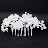 Wholesale hair insert comb resale online - The bride chiffon fabric flower hair comb wedding hair accessories bridal hair accessories alloy insert comb