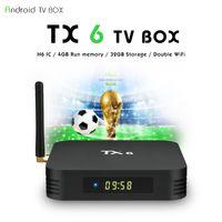 ingrosso casella di media bluetooth-2019 Profitto TX6 H6 Quad core 4 GB RAM 32G Android 9.0 TV Box 2.4G 5G WiFi Bluetooth IPTV Media Player