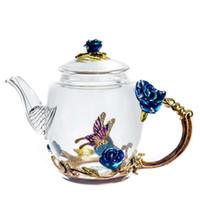 glashitzebeständige teekannensätze großhandel-Hersteller Klar Borosilikatglas Teekanne Mit Edelstahl Infuser Sieb Hitzebeständige Loose Leaf Teekanne Wasserkocher Set