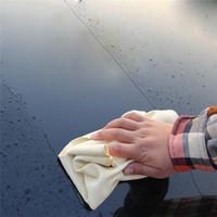 ingrosso pulizia a secco veloce-45X60CM Panno per la pulizia automatico del camoscio naturale Cura dell'auto Lavaggio scamosciato Assorbente Asciugamano asciutto rapido Striscia senza pelucchi HHA143