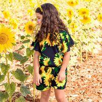 случайный цветочный комбинезон оптовых-Девушки мода подсолнечника принт ползунки дети девочка летающий рукав случайные комбинезоны дети с цветочным принтом одежда RRA561