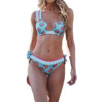набор для купальников оптовых-Womens Flower fuffled sexy Bikini Set 2019 Пуш-ап Мягкий цветочный пляжная одежда Купальный купальник купальник бикини женщины