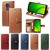 Wholesale play buttons resale online - For Motorola Moto G7 Play Cover PU Leather Pure Color Business Round Button with Card Slots Hand Strap Model G7Play