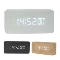 ingrosso porcellana diy kit-Calendario da tavolo elettronico di controllo del suono della sveglia della temperatura di bambù del legno LED