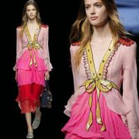 formale spandexkleider großhandel-Süßes rosa Tüll tief-V Pailletten falbala Kragen bowknot geschichtet Runway formales Kleid Paillette Voile Spangle Boutique Kleid große Show volles Kleid