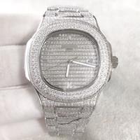 лучшие мужские часы с бриллиантом оптовых-Лучшее качество Nautilus Diamond wach для мужчин Япония автоматическое серебро 40 мм лицо из нержавеющей стали Алмаз ручной ледяной мужские часы жизнь водонепроницаемый