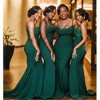 vestes de dama de honra de cetim preto venda por atacado-Preto africanos Vintage Meninas 2020 Vestidos dama Robe d'honneur dhonneur Vestido Spaghetti Mermaid Wedding Party longo de cetim