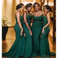 fiesta de bodas de satén túnicas al por mayor-Vintage niñas negras africanas 2020 vestidos de dama de honor del traje dhonneur correas espaguetis vestido de fiesta de la boda largo del satén de la sirena