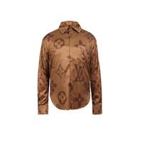 geschäft beiläufige männerhemden großhandel-Designer Slim Fit Hemden Medusa Herren = 3D Gold Blumendruck Herren Hemden Langarm Business Freizeithemden Herren Bekleidung