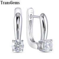 Wholesale moissanite carat earrings for sale - Group buy Transgems k White Gold ctw Carat mm F Color Moissanite Hoop Earrings For Women Wedding Engagement Birthday Gift Y190726