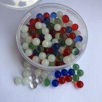 açık mavi bonglar toptan satış-Yeni Işıltılı Parlayan 8mm 6mm Kuvars Terp Inci Topu Eklemek mavi Yeşil Temizle Kuvars İnci Kuvars Banger Çiviler Cam Bongs Dab Için