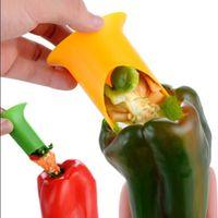 tomatenkerne großhandel-Pepper Corer Slicer Cutter Tools Tomate Coring Gerät Gemüse Nuclear Corers Stiele Fruchtmesser Küchengerät Gadget