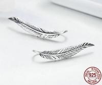 ingrosso orecchini di ala fata-CDE1 Orecchini in argento sterling con piume di piume in argento sterling 925 autentico per gioielli di moda donna in argento