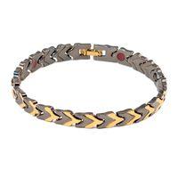jóias de titânio de germânio venda por atacado-Preto Pure Titanium Pulseira Magnética Para Homens Ímãs Negativos Germânio Saúde Pulseiras jóias