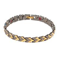 joyería de titanio germanio al por mayor-Pulsera magnética titanium puro negro para los hombres imanes iones negativos germanio salud pulseras joyas
