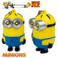 Wholesale keychain sounds resale online - Movie D Despicable Me LED Keychain Popular Silicone Cartoon Minions Keyring with Sound Cute Talk Minions Car Bag Keyring Children Toys Gift
