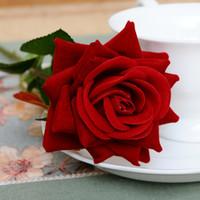 kadife gül çiçekleri toptan satış-Fransız Romantik Yapay Gül Çiçek DIY Kadife Ipek Çiçek Parti Ev Düğün Tatil Dekorasyon için