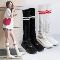 plattform lange stiefel großhandel-Frauen Stiefel Mode Mitte der Wade Stiefel Plattform Socke Rubbe 39 Schuhe Frau weiß lässig lange sexy Stretch Oberschenkel hohe Schuhe