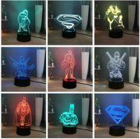 Wholesale iron man night light resale online - 2019 New Avengers Movie Super Hero Wolverine Batman Spiderman Iron Man Thor D USB Touch Color Change Night Light Fans Child Xmas Gifts