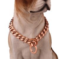 Wholesale choke collar dogs for sale - Group buy Strong Rose Gold Titanium Steel Slip Dog Collar Metal Dogs Training Pet Chain Choke Collar For Large Dogs Pitbull Bulldog m