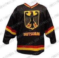 jerseys negros de alemania al por mayor-Custom Team Germany Hockey Jersey New Black Puntada personalizada en cualquier número y nombre Hombre Hockey Jersey XS-5XL