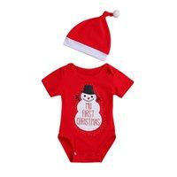 kırmızı şapka giysileri toptan satış-Noel bebek romper Kırmızı yenidoğan tulum + şapkalar Bebek Bebek Çocuk Tasarımcı Giyim doğmuş bebek kız elbise bebek tulum A8972