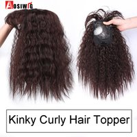 Wholesale clip bangs black hair resale online - AOSI Synthetic Toupees Hair Topper Hairpieces Black Brown Heat Resistant Kinky Curly Top Natural Clip With Bangs Closure WomenMX190918