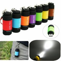 Wholesale usb key rings resale online - Multi Color Mini Flashlight Waterproof USB Rechargeable LED Light Key Chain Ring Lamp Pocket Portable Keychain Mini Torch