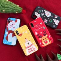 sankt weihnachten silikon fall großhandel-Für iphone x xs xr xs max weihnachtsmann fällen xsyg matt weihnachten telefon abdeckung silikon tpu für iphone 6 7 6 s 8 plus fundas coque