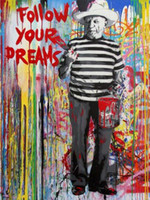 Wholesale graffiti wall decor for sale - Group buy High Quality Handpainted HD Print Banksy Graffiti Pop Art oil painting Follow your dreams On Canvas Home Decor Wall Art Multi Sizes g132