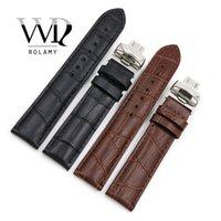kahverengi saat kayışları toptan satış-Rolamy 19mm Siyah Kahverengi Hakiki Deri Değiştirme Watch Band Kayışı Bilezik Için PRC200 T17 T461 T014430 T014410