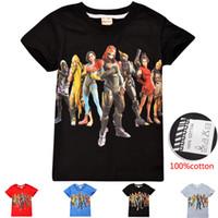 cooles mädchen scherzt t-shirt großhandel-Kühle Kinder, die Fort-T-Shirt Baumwollmittelgroße Jungen-Mädchen-Kurzschluss-Hülsen-Hemd-Sommer-Kleidungs-Kind-T-Stücke kleiden Freier DHL
