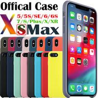apple original iphone 6s plus al por mayor-Funda oficial de silicona con el estilo del logotipo original para el iphone 7 para la cubierta de Apple para el iPhone 6 6S Plus 5 5s SE X XS MAX XR Casos Envío de la gota de Capa