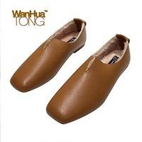 ingrosso scarpe colorate solide-Inverno Donna Piazza Toe piatto tallone Slip-Ons Solid pelliccia color Linning giornalieri Casual Shoes moda femminile