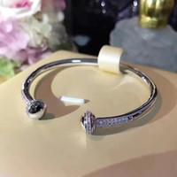 perlas giratorias al por mayor-Marca de fábrica caliente de la joyería para las mujeres Girar la bola del brazalete ajustar el tamaño Bead spin pulsera giratoria Joyería de la boda Abierto de oro rosa