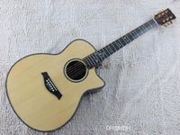 Wholesale fretboard acoustic guitar resale online - New nature wood Spruce Body Dreadnought taylor flower fretboard Acoustic Guitar