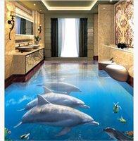 подводный дельфин оптовых-Пользовательские 3D фото самоклеящиеся ПВХ настенные росписи обоев Dolphin Underwater World 3D Стерео Ванная Комната Гостиная Водонепроницаемый Пол