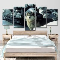 Wholesale brown wall panel art resale online - HD Printed Piece Canvas Art Brown Snow Wolf Painting Animal Poster Wall Pictures For Home Decor