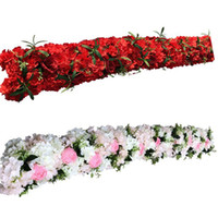 flores de amapola roja artificial al por mayor-Custom 1M / 2M artificial flower row table runner rosa roja amapolas para la decoración de la boda telón de fondo arco hojas verdes decoración del partido