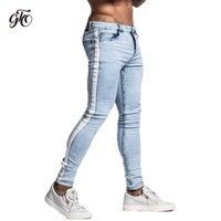 erkek tayt kot toptan satış-Gingtto Skinny Jeans Erkekler Için Bant Tasarımcı Sıkıntılı Streç Kot Marka Mavi Skinny Jeans Yırtık Slim Fit Ayak Bileği Sıkı Zm33 MX190718