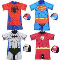 4t jungen badebekleidung großhandel-2-11 Jahre Baby einteiliger Badeanzug mit Kappe Spiderman Captain America Hulk Iron Man Superheld Kinder Jungen Badeanzug Kinder Badebekleidung