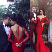 vestido de sereia vermelha trombeta venda por atacado-2019 Árabe Vermelho Sereia Vestidos Vestidos de Noite Sheer Jewel Lace Applique Chiffon Frisado Trompete Longo Prom Formal Vestido Pageant