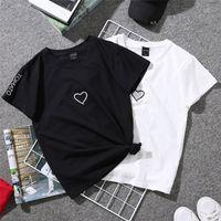 ingrosso donne di tshirt di amore-Summer Couples Lovers T-Shirt per Donna Casual Bianco Tops Maglietta Donna T Shirt Love Heart Ricamo T-Shirt da Donna