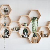 Wholesale baby shelves for sale - Group buy Nordic Hexagon Shelf Wooden Wall Hanging Rack Honeycomb Hexagon Shelves for Baby Child Bedroom Dekoration T200319