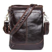 pequeños bolsos masculinos al por mayor-bolsos bolsos bandolera de cuero genuino bolso del mensajero de los hombres de moda de los hombres de cuero Crossbody pequeña solapa masculina bolsos de las bolsas Leathe real