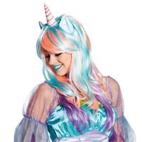peruk direği toptan satış-Unicorn Peruk Parti Makyaj Sahne Şenlikli Dekorasyon Moda Kabarık Kadın Cadılar Bayramı Partisi Peruk Unicorn Cosplay Prop