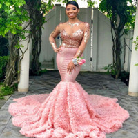 kızlar için nişan elbiseleri toptan satış-Seksi Illusion Pembe Mermaid Balo Parti Elbiseler Uzun Kollu Pageant Siyah Kızlar Abiye giyim Çiçekler Nişan Elbise Artı Boyutu Giymek