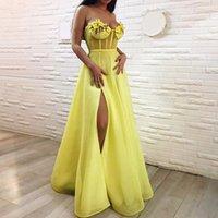 islamische blumen großhandel-Sexy Gelb Abendkleider 2019 A-Linie Schatz Tüll Blumen Schlitz Islamisch Dubai Saudi Arabisch Lange Formelle Abendkleid